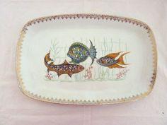 Vintage Serving Porcelain Platter with Gold Rim by vintagememory, $28.00