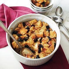 Brandied Plum-Vanilla Bread Pudding | Brandy-spiked dried plums bejewel this delicious vanilla-infused bread pudding, putting a decadent spin on comfort food.
