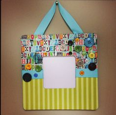 Lime green and alphabet scrapbook paper covered picture frame.