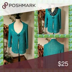 Turquoise Cardigan Sweater Like new! Worn 1time! Has a large button with snap underneath. Beautiful color! Sweaters Cardigans