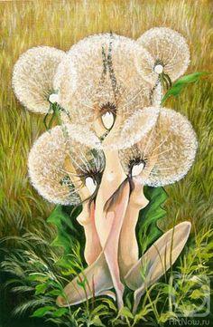 Dandelion Wall Art, Colorful Art, Flower Painting, Dandelion Art, Painting, Female Art, Fae Art, Flower Sketches, Beautiful Art