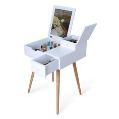 Amazon.com: Facilehome Dressing Vanity Table Makeup Desk with Dressing Mirror and 2 Drawers,White: Kitchen & Dining