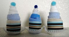 """(3) """"Baby Boy Blue & Brown Stripes"""" Washcloth Cupcakes by Divine75, $15.00"""