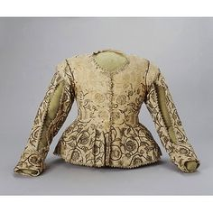 Jacket    Place of origin:  England, Britain (made)    Date:  1620s (made)    Artist/Maker:  Unknown (production)    Materials and Techniques:  Linen embroidered with silk    Museum number:  T.4-1935    Gallery location:  In Storage