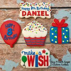 Happy 8th Birthday Daniel! #birthdaycookies #makeawish #sugarcookies #decoratedsugarcookies #royalicing #customcookies #decoratedcookies…
