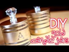 DIY: turning candle jars into storage jars with stripes of gold paint