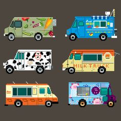 Adorable 8-bit Food Trucks...we hope to see some at #Porcfest in real lifes instead of 8-bit.