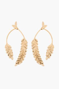 Aurlie Bidermann Gold Plated Wheat Head Articulated Pendent Earrings - on Vein - getvein.com