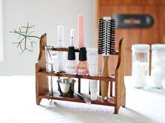 Vintage test tube rack into a brush organizer.