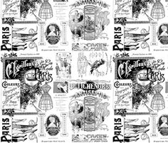Black White Ads fabric by peagreengirl on Spoonflower - custom fabric