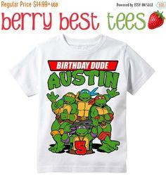 New Years SALE TMNT - Teenage Mutant Ninja Turtles Personalized Birthday Shirt