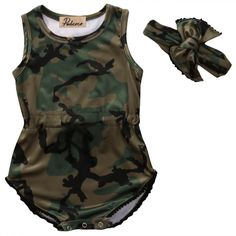 0869cc2f09ac7 Toddler Baby Girl Clothes Summer Sleeveless Camouflage Cotton Romper  Jumpsuit+Headband One Pieces Baby Clothes Outfits 0 24M-in Clothing Sets  from Mother ...