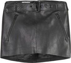 Miranda Kerr wearing Acne Belted Micro Mini Leather Skirt.