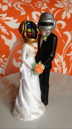 Daft Punk Bride and Groom Cake Topper