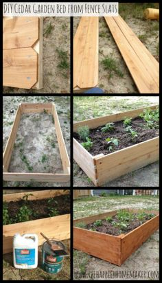 $15 raised bed.  made this today from the top 2' of 8' wide cedar fence that we trimmed off and had leftover.  mine has the dog ear top edges of the fence but it cost:  $0. jc