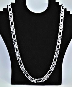 """men's Figaro chain 24"""" necklace 925 sterling silver #Figaro #FigaroChain Mens Silver Necklace, Men Necklace, Silver Necklaces, Silver Ring, Silver Earrings, Silver Jewelry, Necklace Chain, Fine Jewelry, Chain Jewelry"""