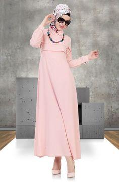 Miss Cazibe - Miss Cazibe Pile Detaylı Elbise 1742 Pudra