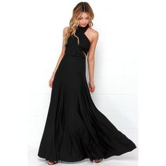 Tricks of the Trade Black Maxi Dress ($73) ❤ liked on Polyvore featuring dresses, gowns, halter dress, long evening dresses, long wrap dress, strapless gown and long ball gowns