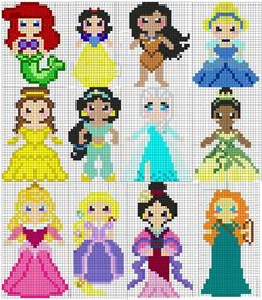 Billedresultat for mini princesse pixel art Melty Bead Patterns, Pearler Bead Patterns, Perler Patterns, Beading Patterns, Loom Beading, Crochet Patterns, Cross Stitch Pattern Maker, Disney Cross Stitch Patterns, Cross Stitch Designs