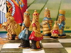 Alice In Wonderland Chess Set by SAC. If you are looking for high quality Alice In Wonderland chess pieces you have come to the right place. You will find great deals on our Alice In Wonderland chess sets. Kids Chess Set, Chess Set Unique, Chess Sets, Chess Pieces, Game Pieces, Queen Chess Piece, Cerámica Ideas, Art Through The Ages, Alice Liddell