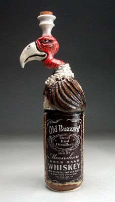 Old Buzzard Whiskey Bottle Pottery folk art sculpture by face jug maker Grafton