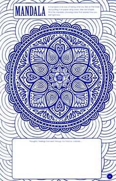"""Ink About It"" therapeutic mandala exercise for teens and 'tweens from Art with Heart Very theraputic for stressful days at school. Counseling Activities, Art Therapy Activities, Group Activities, Group Counseling, School Counseling, Therapy Tools, Therapy Ideas, Play Therapy, Mental Health Counseling"