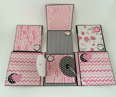 Baby Girl Photo Album - Pink and Black - Babies First Year Memory Album - Scrapbook Baby Album - Journal Baby Book - Baby Photos Baby Girl Photo Album, Baby Girl Photos, Album Photo Original, Baby Girl Scrapbook, Album Scrapbook, Memory Album, Polka Dot Paper, Mini Album Tutorial, Mini Albums Scrap