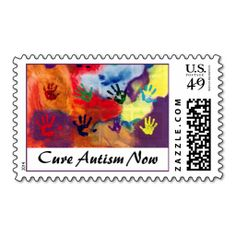 Cure Autism Now Postage Stamps. This is customizable to put a personal touch on your mail. Add your photos or text to design your own stamp that can be sent through standard U.S. Mail. Just click the image to try it out!