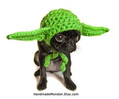 STAR WARS DOG hat costume yoda inspired pet by HandmadeMonster