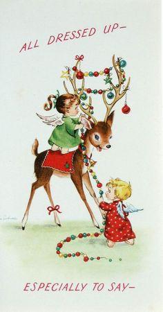 Vintage Greetings Card. All Dressed Up. Reindeer. Christmas.. £2.99, via Etsy.