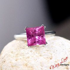 Pink Sapphire Solitaire Square Princess 3.80ct ring 14k Gold white-yellow-rose-Custom made your size-Wedding-Engagement-Anniversary-Layaway