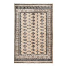 With a distinctive style, a gorgeous area rug from Pakistan will add some splendor to any decor. This Bokhara area rug is hand-knotted with a geometric pattern in shades of beige, light brown, light gray, and black.