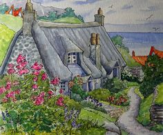 "Peinture ""An English Summer by the Sea"" par Alida Akers (série Storybook Cottage)"