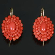 Nineteenth Century Victorian coral earrings (10252-4350)