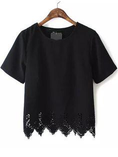 Black Short Sleeve Lace Hem Chiffon T-Shirt 13.99
