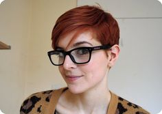 red hair pixie cut and glasses