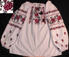 Handmade Ukrainian hand embroidered women's blouse #07-4321 from Western Ukraine, sold on AllThingsUkrainian.com Embroidered Blouse, Ukraine, Boho Shorts, Blouses For Women, Caftans, Costumes, Embroidery, Poland, Handmade