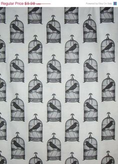 ON SALE Back and White Nevermore Birdcage Print from Michael Miller Pure Cotton Fabric--One Yard