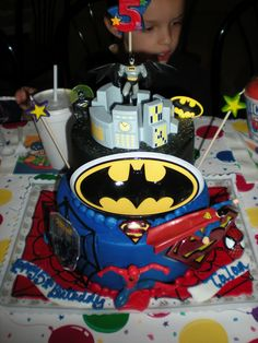 Spider Man, Superman, and Batman Cake for my boy :)