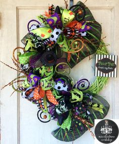 Halloween wreath deco mesh wreath funky by MrsChristmasWorkshop