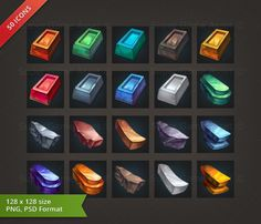 Metal & Mineral RPG Crafting Icon set - game icons - Super Game Asset