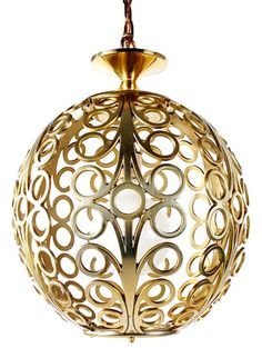 Hollywood Regency Modern Brass Hanging Lamp | Mid Century Light