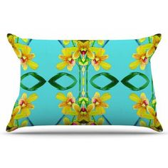 East Urban Home Tropical Floral Orchids by Dawid Roc Pillow Sham Size: Standard, Color: Teal