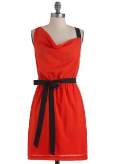 My Cool Tangelo Dress - Mid-length, Orange, Black, Solid, Party, Sleeveless, Spring, Belted, Sheath / Shift, Fall