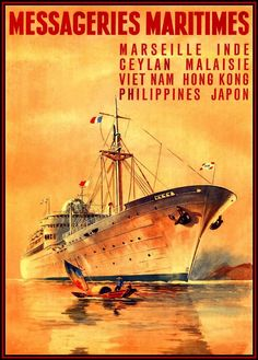Messageries Maritimes French Shipping Line: Print from Old Poster