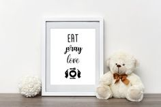 Eat Pray Love Sign  Inspirational Quote  Black by CheekyLavender