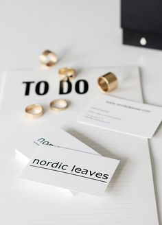 business cards, nordic leaves style