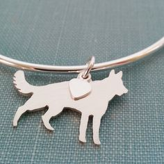 German Shepherd Dog Bangle Bracelet Sterling Silver by DiBAdog #dog #germanshepherd #shepherd