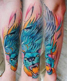 New School Animal Tattoo by Lehel Nyeste - http://worldtattoosgallery.com/new-school-animal-tattoo-by-lehel-nyeste-4/