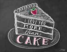 Boxed Set of 8 I Love You More Than Cake Cards Cake by LilyandVal